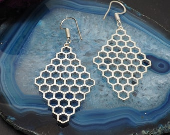 HONEY COMB Silver Plated Earrings