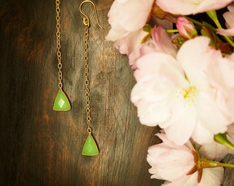 APONI green Chalcedon Earrings Sterling Silver 925 18ct Gold Plated