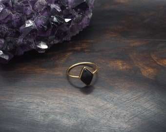MAHU Onyx Sterling Silver 925 18ct Gold Plated Ring