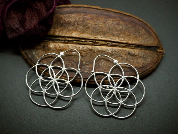 Seed of Life Silver Plated Hoop Earrings