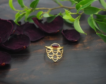 WAKI Garnet Sterling Silver 925 18ct Gold Plated Ring