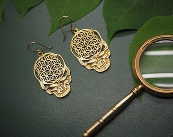 SKULL Tribal Brass Earrings