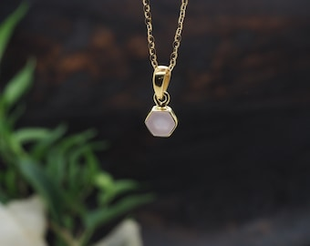 HEXAGON Rose Quartz Sterling Silver 925 18ct Gold Plated Pendant