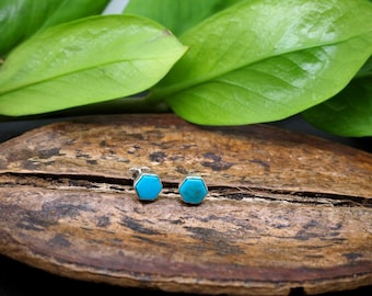 HEXAGON Turquoise Sterling Silver 925 Ear Studs