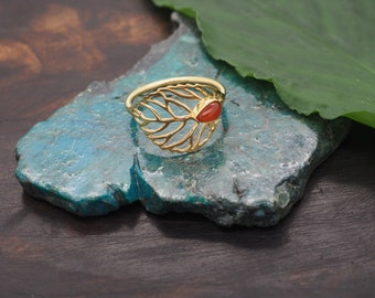 ABEY Carnelian Sterling Silver 925 18ct Gold Plated Ring