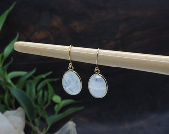 AMITOLA Moonstone Earrings Sterling Silver 925 18ct Gold Plated