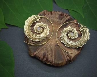 SANI Moonstone Tribal Brass Earrings