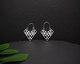 SMALL SRI YANTRA Silver Plated Earrings