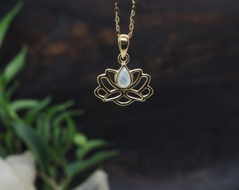 LOTUS Moonstone Sterling Silver 925 18ct Gold Plated Pendant