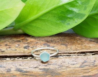 HEXAGON Aqua Chalcedon Sterling Silver 925 Ring