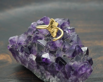 GINKGO Sterling Silver 925 18ct Gold Plated Ring
