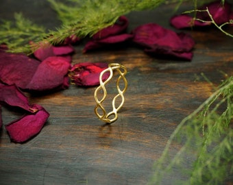 UNA Sterling Silver 925 18ct Gold Plated Ring