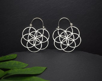 SEED OF LIFE Silver Plated Earrings