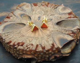 MAKA Carnelian Ear Stud Sterling Silver 925 18ct Gold Plated