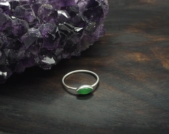 LOMASI Green Onyx Sterling Silver 925 Ring