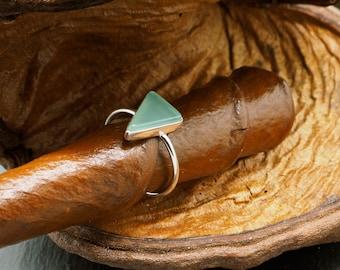 TRIANGLE Aqua Chalcedon Sterling Silver 925 Ring