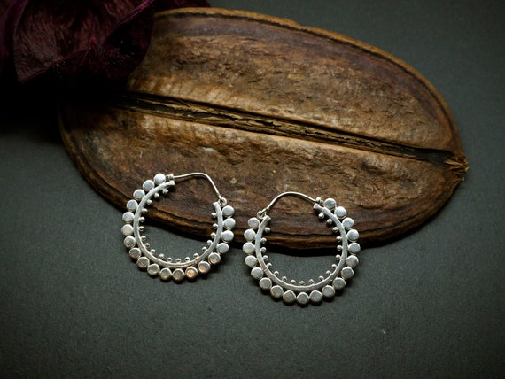 Ayita Tribal Hoop Silver Plated Earrings