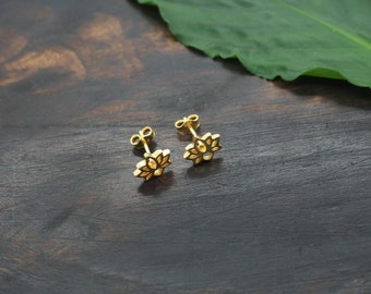LOTUS Ear Stud Sterling Silver 925 18ct Gold Plated