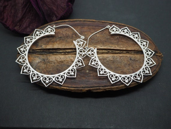 Big Tribal Heart Hoop Silver Plated Earrings