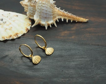 SHELL Earring Sterling Silver 925 18ct Gold Plated