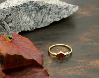 MINAL Carnelian Sterling Silver 925 18ct Gold Plated Ring