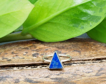 TRIANGLE Lapis Lazuli Sterling Silver 925 Ring