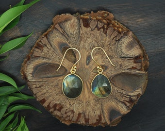AMITOLA Labradorite Earrings Sterling Silver 925 18ct Gold Plated