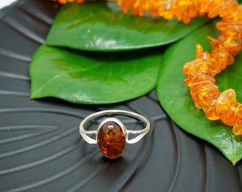 AMBER Sterling Silver 925 Rings