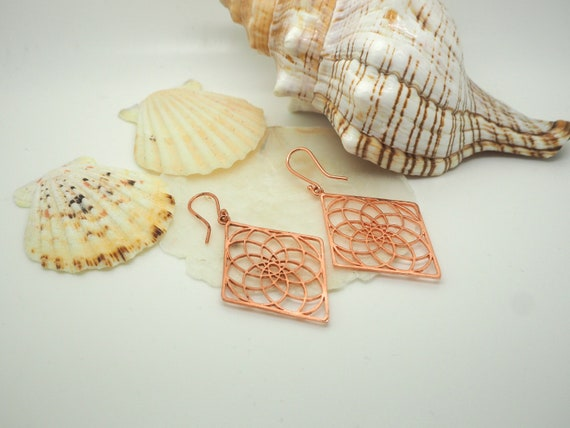 Mandala Copper Earrings
