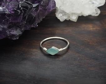 MINAL Aqua Chalcedon Sterling Silver 925 Ring