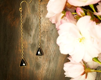 APONI Black Onyx Earrings Sterling Silver 925 18ct Gold Plated