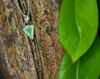 TRIANGLE Green Chalcedon Sterling Silver 925 Ring