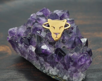 PANTHERA Sterling Silver 925 18ct Gold Plated Ring