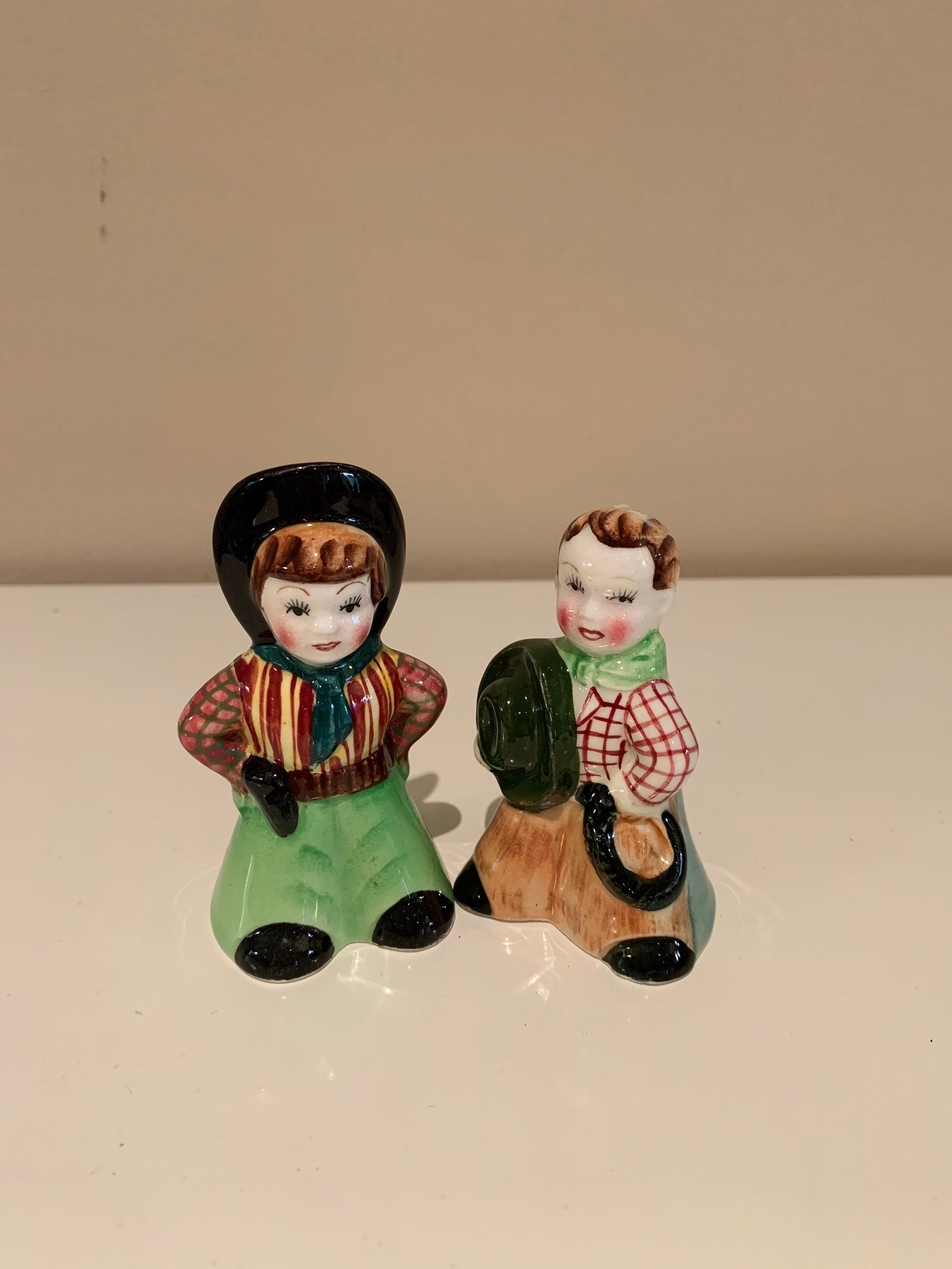 Vintage Cowboy Cowgirl Salt Pepper Shakers Western Calamity Jane and Wild Bill Hickok Cowpoke Shakers