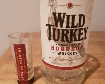 Wild Turkey bourbon glass and shot glass
