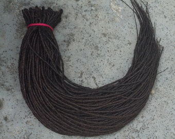 Full Set Thick Natural Dark Brown Double Ended Synthetic Dreads Dreadlocks