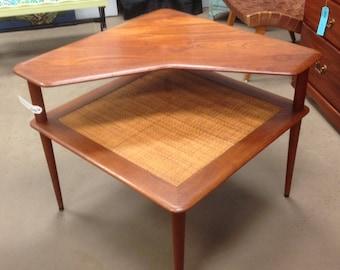 Danish Modern Corner End Table, Living Room Table, Mid Century 1950 Vintage Furniture, Woven Rattan, Teak Wood