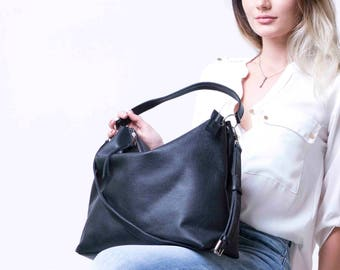 Black Leather Hobo Bag, Black Hobo Bag, Hobo HandBag