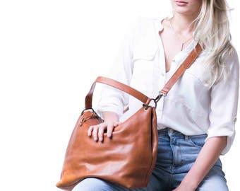 Crossbody Leather Hobo Bag, Crossbody Hobo, Cognac Hobo Bag
