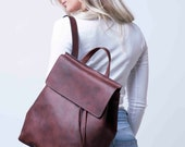 Women Leather Backpack, Women Leather Brown Backpack, Valentine's Day for Her