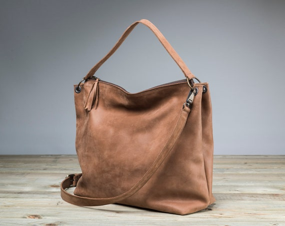 78489db78a67 Leather bag with pockets Camel Hobo Bag Camel Leather Bag