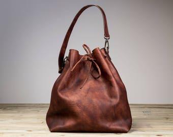 Leather Bucket Bag, Brown Leather Bucket Bag, Brown Bucket Bag