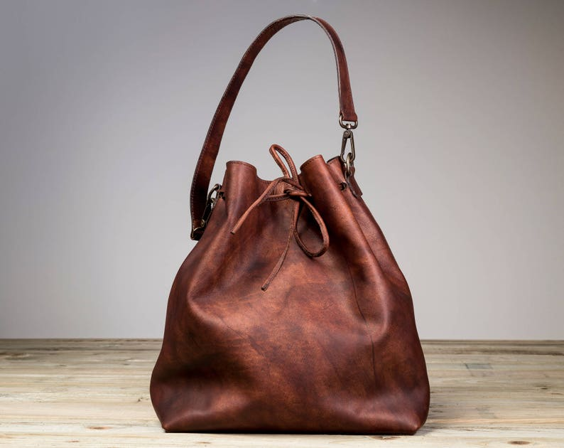 Leather Bucket Bag Brown Leather Bucket Bag Brown Bucket image 0