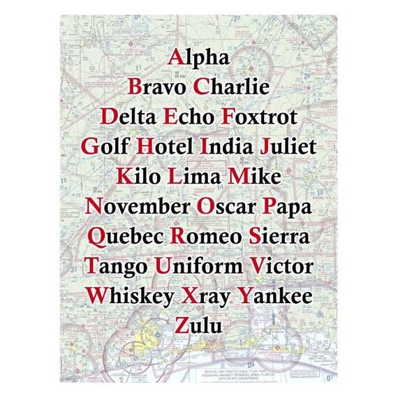 Phonetic Alphabet With Custom Aviation Map Chart Background On Etsy