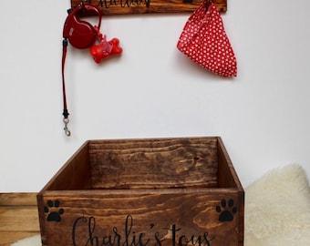 Pet Toy Box and Leash Holder, Dog toy box, cat toy box, Personalized Dog Toy Box, Doggy Toy Storage, Pet Toy Bin, custom pet toy box