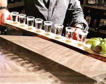 Tequila tasting paddle, tequila shot flight, shot glasses holder, tequila tasting tray, home bar gift