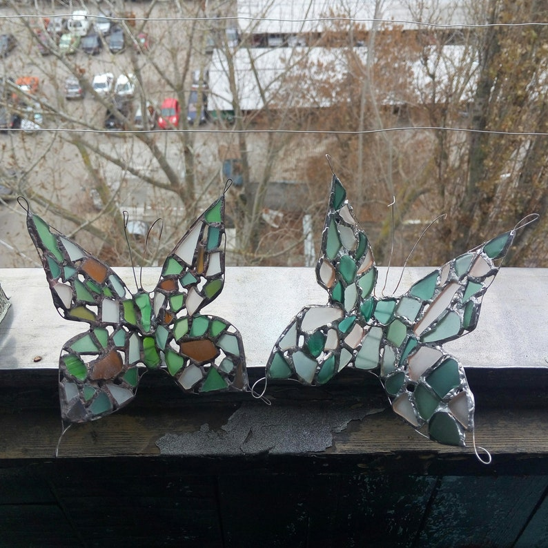 Butterfly Big Figurine Sea Stained Glass Home Decor Table