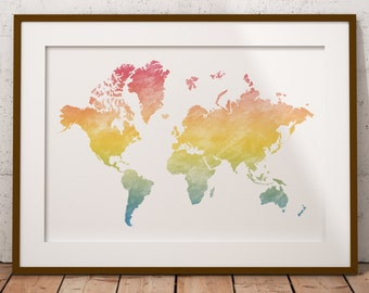 Colorful Watercolor World Map, Watercolor Map, Watercolor Art, Art Print, Map Art, Wall art, Wall decor, Printable art, Instant Download