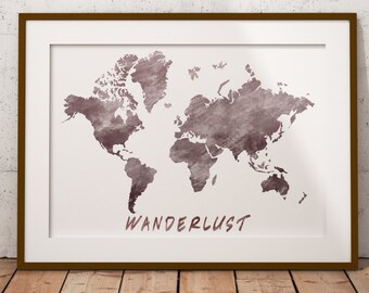 World Map, Wanderlust, Watercolor Map. Printable Worldmap, Watercolor Art, Map Art, Wall art, Wall decor, Printable art, Instant Download
