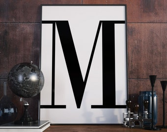 M Letter Print, Initial Wall Art, Letter Print M, Scandinavian Poster, Initial Poster, M Letter Poster, M Letter Print, Digital Download